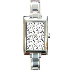 White Music Notes Rectangle Italian Charm Watch by snowwhitegirl