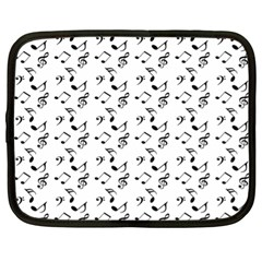 White Music Notes Netbook Case (xl)  by snowwhitegirl