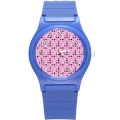 Grey Magenta Eggs On Pink Round Plastic Sport Watch (s) by snowwhitegirl