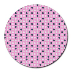 Teal White Eggs On Pink Round Mousepads by snowwhitegirl