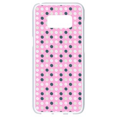 Teal White Eggs On Pink Samsung Galaxy S8 White Seamless Case by snowwhitegirl