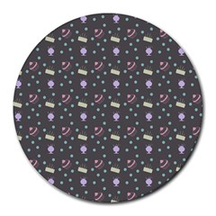 Cakes Yellow Pink Dot Sundaes Grey Round Mousepads
