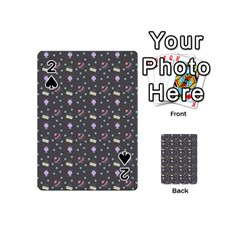 Cakes Yellow Pink Dot Sundaes Grey Playing Cards 54 (mini)  by snowwhitegirl