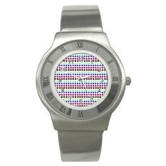 Multi White Dots Stainless Steel Watch by snowwhitegirl