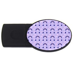 Winter Hat Snow Heart Lilac Blue Usb Flash Drive Oval (4 Gb) by snowwhitegirl
