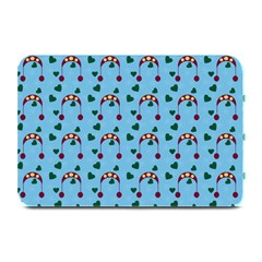 Winter Hat Red Green Hearts Snow Blue Plate Mats by snowwhitegirl