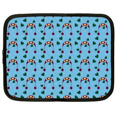 Winter Hat Red Green Hearts Snow Blue Netbook Case (large) by snowwhitegirl