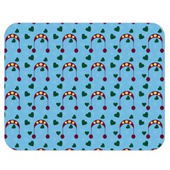 Winter Hat Red Green Hearts Snow Blue Double Sided Flano Blanket (medium)  by snowwhitegirl