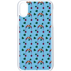 Winter Hat Red Green Hearts Snow Blue Apple Iphone X Seamless Case (white)
