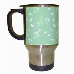 Mint Green White Music Travel Mugs (white) by snowwhitegirl