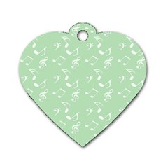 Mint Green White Music Dog Tag Heart (two Sides) by snowwhitegirl