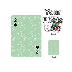 Mint Green White Music Playing Cards 54 (mini)  by snowwhitegirl