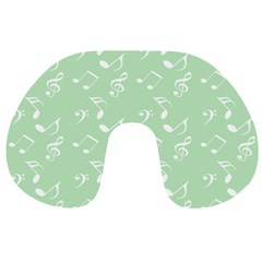 Mint Green White Music Travel Neck Pillows by snowwhitegirl