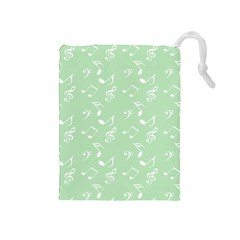 Mint Green White Music Drawstring Pouches (medium)  by snowwhitegirl