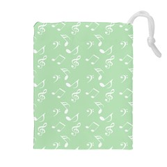 Mint Green White Music Drawstring Pouches (extra Large) by snowwhitegirl