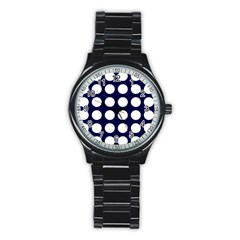 Big Dot Blue Stainless Steel Round Watch by snowwhitegirl