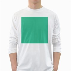 Seafoamy Green White Long Sleeve T Shirts by snowwhitegirl