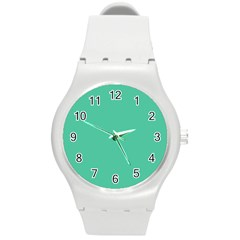 Seafoamy Green Round Plastic Sport Watch (m) by snowwhitegirl