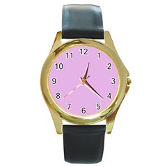 Pink Flowers Round Gold Metal Watch