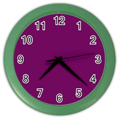 Magenta Ish Purple Color Wall Clocks by snowwhitegirl
