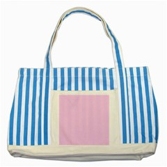 Soft Pink Striped Blue Tote Bag by snowwhitegirl
