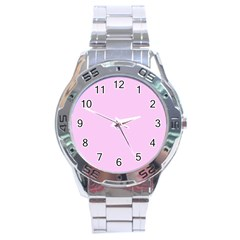 Soft Pink Stainless Steel Analogue Watch by snowwhitegirl