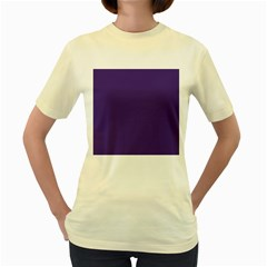 Dark Grape Purple Women s Yellow T-shirt by snowwhitegirl