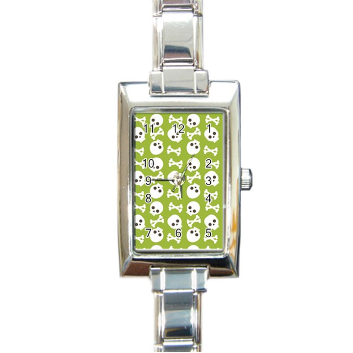 Skull Bone Mask Face White Green Rectangle Italian Charm Watch