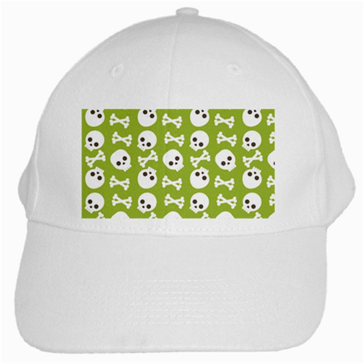 Skull Bone Mask Face White Green White Cap