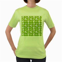 Skull Bone Mask Face White Green Women s Green T Shirt