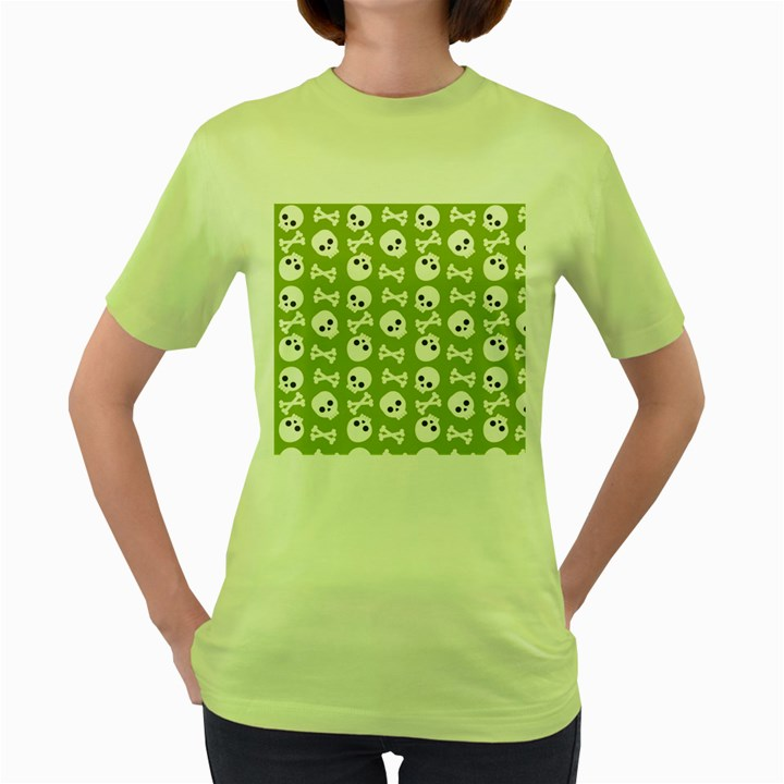 Skull Bone Mask Face White Green Women s Green T-Shirt