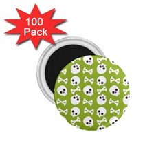 Skull Bone Mask Face White Green 1 75  Magnets (100 Pack)