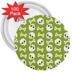Skull Bone Mask Face White Green 3  Buttons (100 pack)  Front