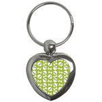 Skull Bone Mask Face White Green Key Chains (Heart)  Front