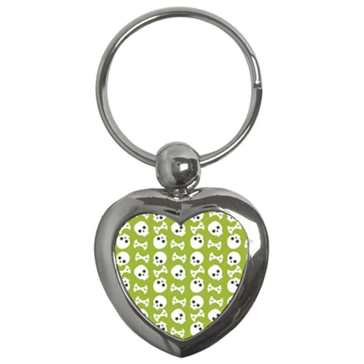 Skull Bone Mask Face White Green Key Chains (Heart)