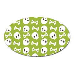 Skull Bone Mask Face White Green Oval Magnet