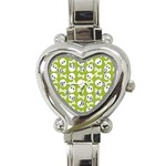 Skull Bone Mask Face White Green Heart Italian Charm Watch Front