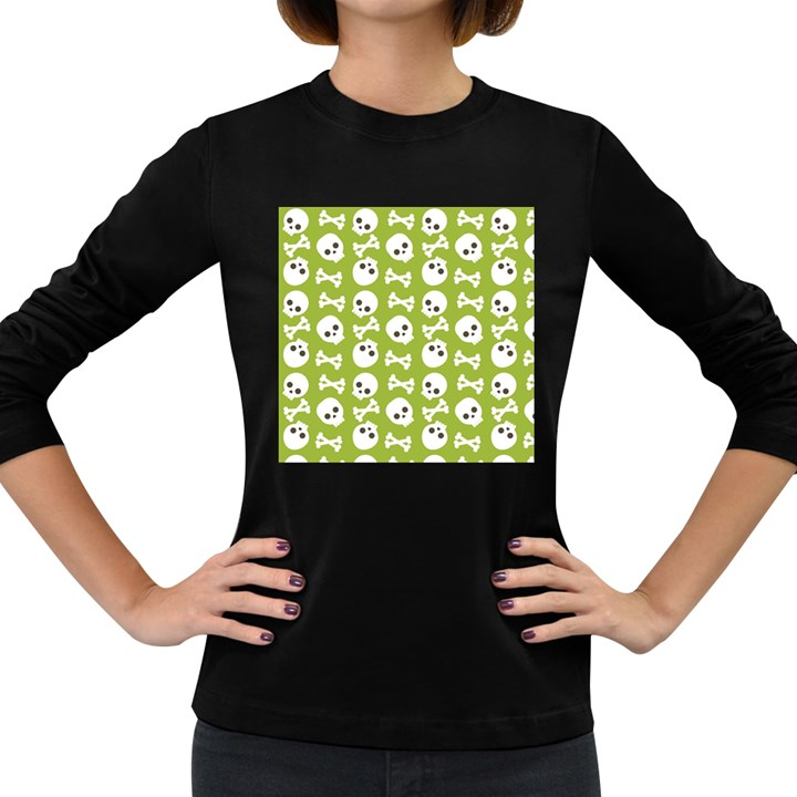 Skull Bone Mask Face White Green Women s Long Sleeve Dark T-Shirts