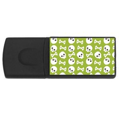 Skull Bone Mask Face White Green Rectangular Usb Flash Drive