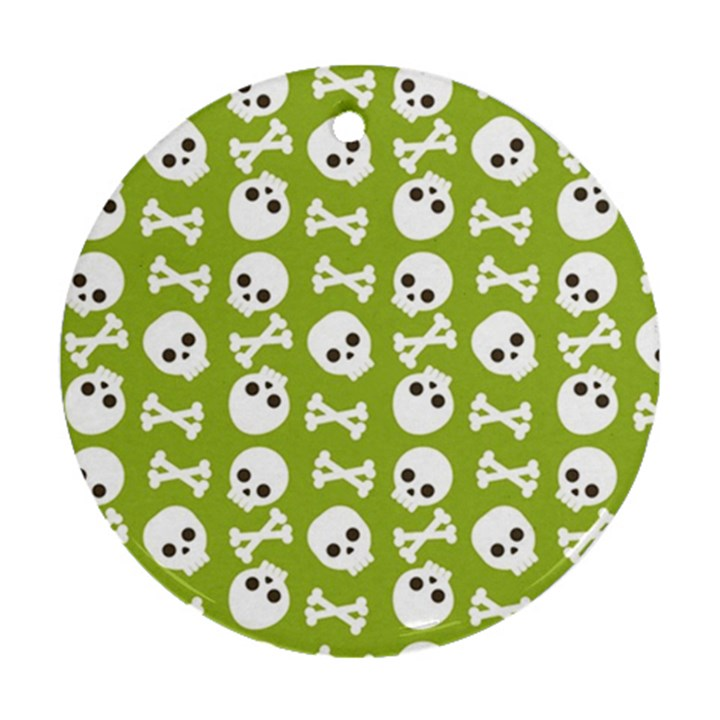 Skull Bone Mask Face White Green Round Ornament (Two Sides)