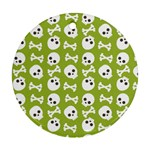 Skull Bone Mask Face White Green Round Ornament (Two Sides) Back