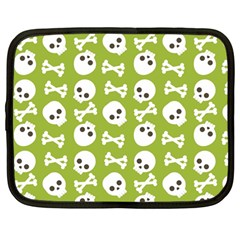 Skull Bone Mask Face White Green Netbook Case (large) by Alisyart