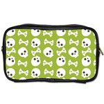 Skull Bone Mask Face White Green Toiletries Bags Front