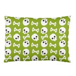 Skull Bone Mask Face White Green Pillow Case (Two Sides) Front