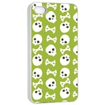 Skull Bone Mask Face White Green Apple iPhone 4/4s Seamless Case (White) Front