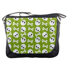 Skull Bone Mask Face White Green Messenger Bags by Alisyart