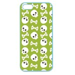 Skull Bone Mask Face White Green Apple Seamless iPhone 5 Case (Color) Front