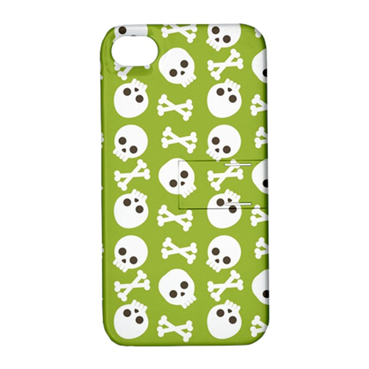 Skull Bone Mask Face White Green Apple iPhone 4/4S Hardshell Case with Stand