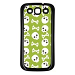 Skull Bone Mask Face White Green Samsung Galaxy S3 Back Case (Black) Front