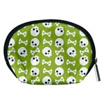Skull Bone Mask Face White Green Accessory Pouches (Medium)  Back